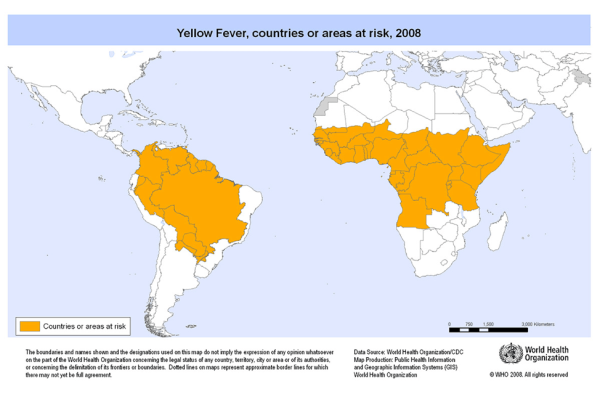yellow fever map